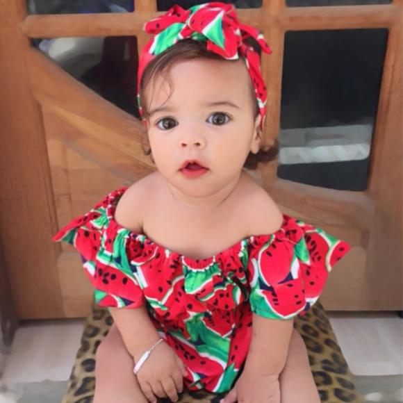 e120f21c4d1b  Restocked  Baby Girl Watermelon Romper   Headband